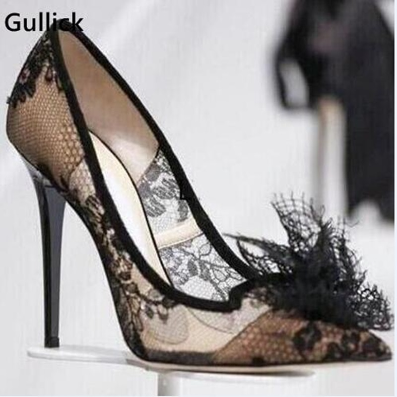 Élégant noir fleur Transparent Sexy dentelle talons hauts chaussures pour fête talons minces pompes de mariage femmes grande taille 35-42 Photo réelle