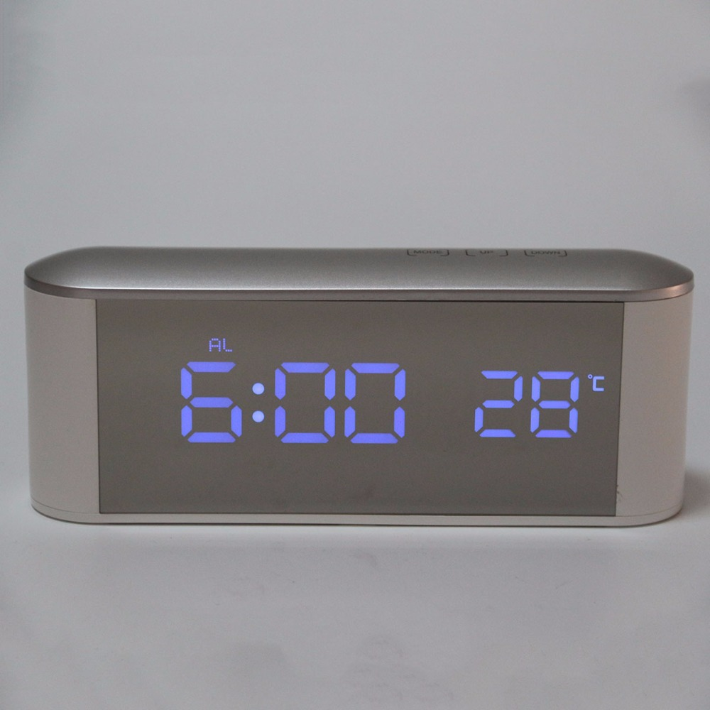LED Alarm Clock Multifunction Digital Electronic Mirror Clock Temperature Snooze Large Display 12H/24H Alarm and Snooze Function