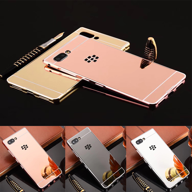 Luxury Rose Gold Mirror Cases For Blackberry Key 2 Alumimum Metal Frame shell Back Cover for Blackberry Key2(China)