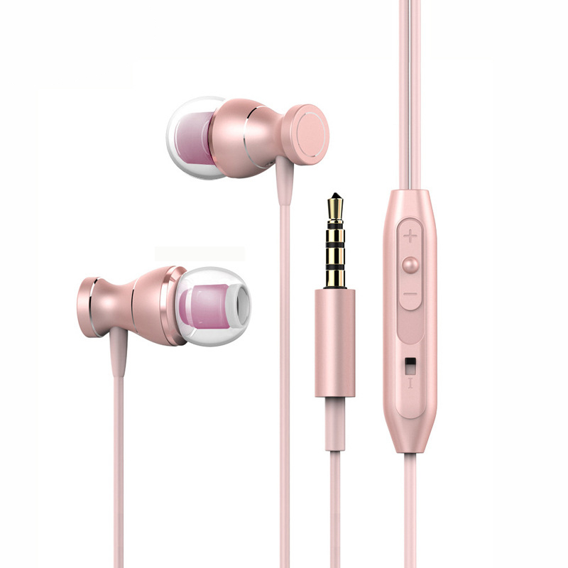 Magnet Metal In-Ear Earphone Stereo Bass Sound Anti-Sweat Sport Earphone with Mic Handsfree Earbuds for Smart Phone Mp3 Xiaomi em290 copper wire earphone in ear with mic clear 3d sound quality handsfree call for android ios smartphone oppo xiaomi mp3 pc