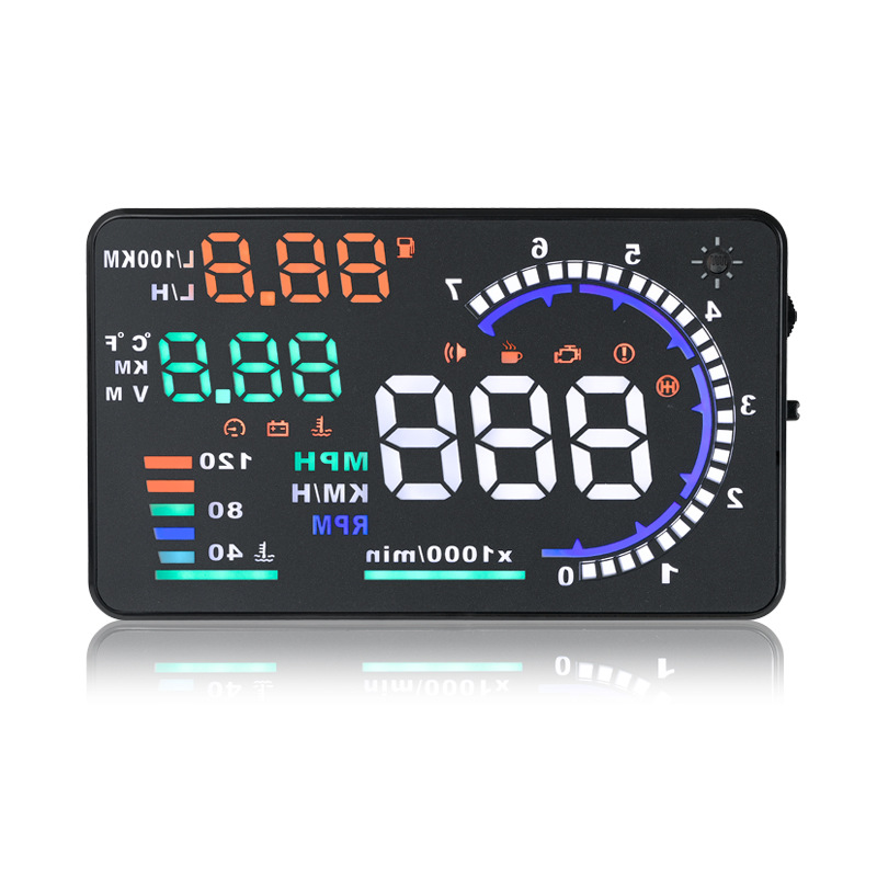 Auto 5.5 Inch Car Head Up Display Speed / Fuel Consumption Shows HUD Driving Computer Projector Speed Warning System Display e350 hud car head up display 5 8 inch windscreen projector obd2 euobd car driving data diagnosis speed warning fuel consumption