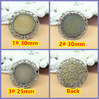 25mm,30mm 50pcs Antique Bronze Blank Pendant Trays Bases Cameo Cabochon Setting for Glass/Stickers