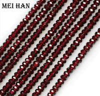 Charms Natural 4 6mm A Red Garnet Faceted Rondelle Loose Beads Stone Freeshipping Wholesale