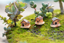 Mini Dollhouse Stone House Resin Decorations For Home And Garden DIY For Home And Garden DIY Mini Craft Cottage Home Garden cheap ISHOWTIENDA Architecture Pastoral