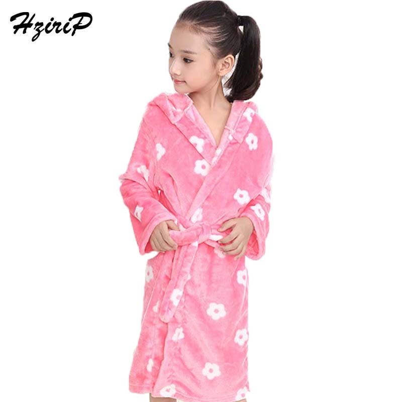 HziriP New Children Girls Bath Robes Cute Cartoon Hooded Pajamas Soft Flannel Plush Warm Underwear Nightgown Kids Home Clothing