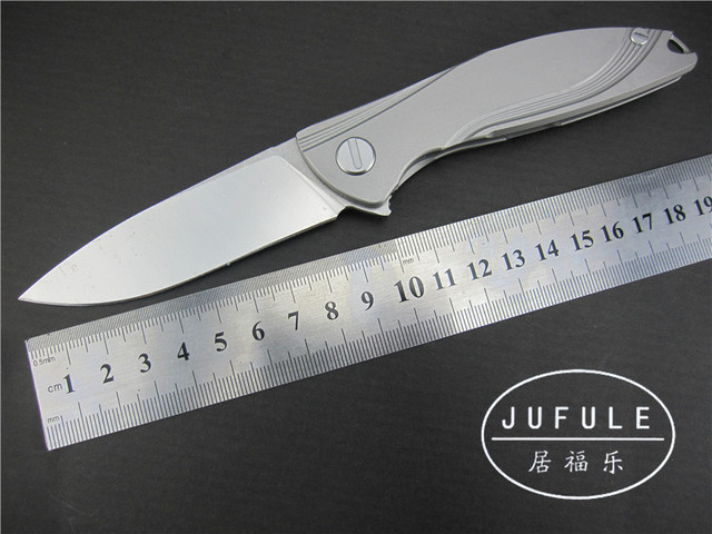 JUFULE YIDU Custom Made Neon Ceramic Ball Bearing D2 Blade Titanium Handle  Weight Reduce Flipper Folding