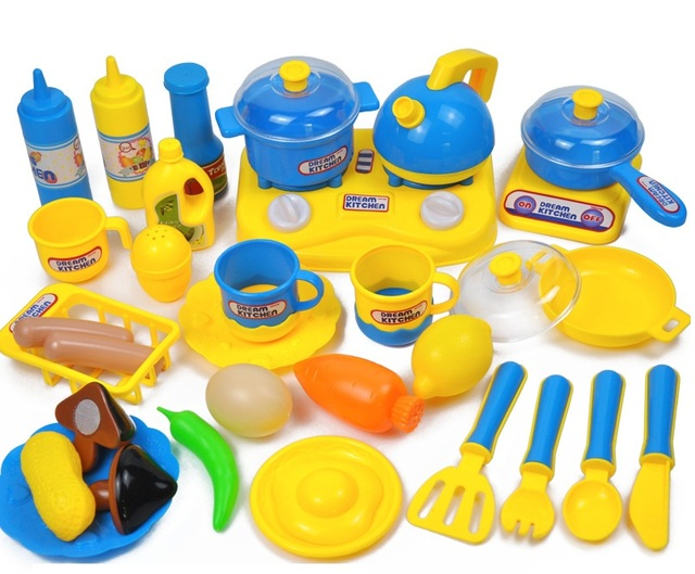 YARD 33 Pieces Classic Cooking Toys For Children Pretend Play Cutting Food Set Kids Kitchen Educational Toy Dollhouse Kitchen