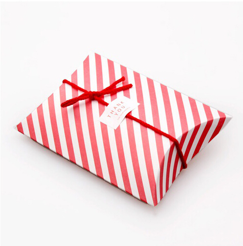 candy dessert bag chocolate pillow-like red strip paper gift box for Birthday Wedding Party Decoration DIY favor baby shower Wh