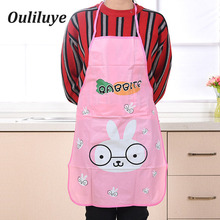70cm*50cm PVC Waterproof Woman Man Kitchen Cooking Aprons Oil-proof Cartoon Simple And Stylish lovely Bib Apron for Baking BBQ