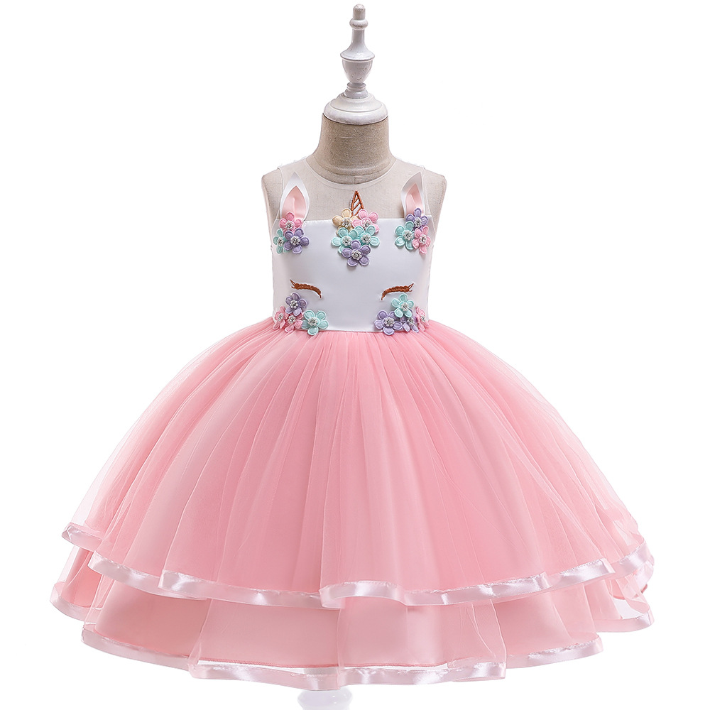 New Arrival  Tulle Pink First Communion Dresses For Girls Ball Gown  Pageant Dresses 2019 Puffy  Party Dress Girl