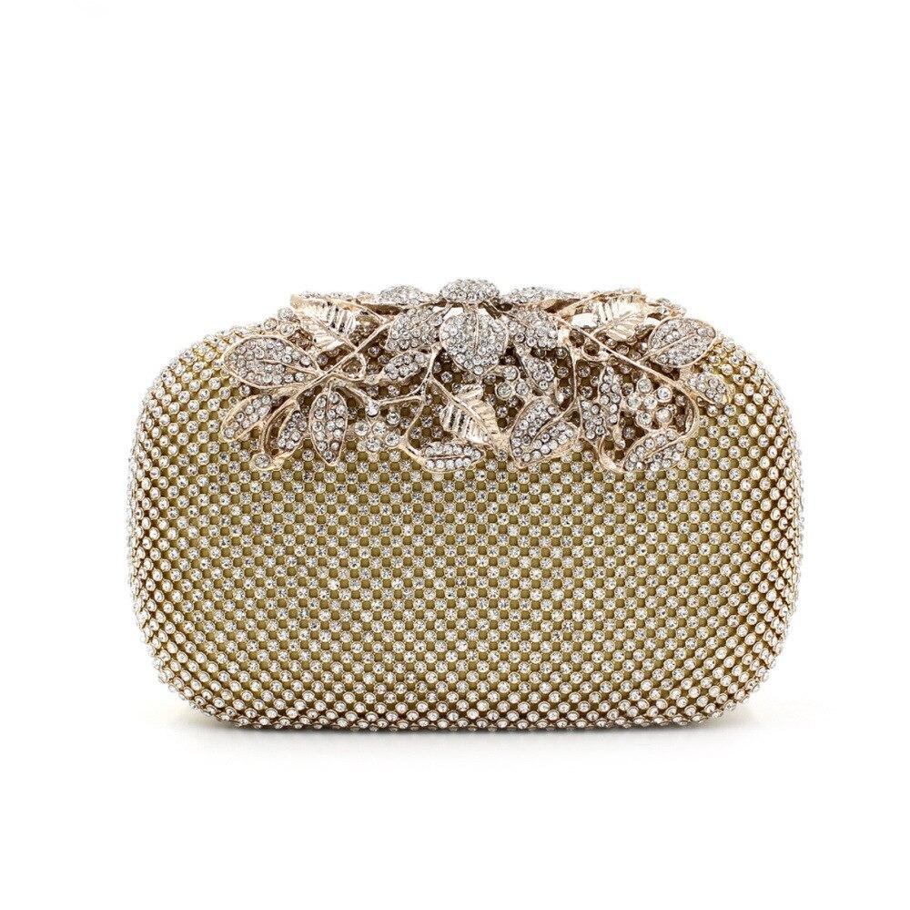 Fournir 2017 fleurs de luxe embrayage soirée sacs diamants paquet dames strass perceuse sac soirée fête jour embrayages