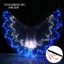 Adultos asas coloridas led dança adereços mais novo led asas isis dança do ventre profissional acessório dança do ventre asas led com varas