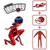 Adlut Kids Girls Miraculous Ladybug Cosplay Costume Mask Bag Jumpsuit Tight Fancy Dress