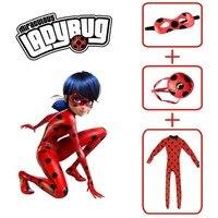 Adlut Kids Girls Miraculous Ladybug Cosplay Costume Mask Bag Jumpsuit Tight Fancy Dress