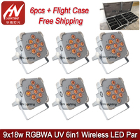 6pcs with case high power Wireless dmx battery powered led par 9X18W 6in1 RGBAW+UV led flat par can