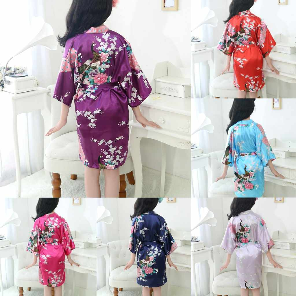 New Kid Silk floral Robe Kimono Robes Bridesmaid Flower Girl Dress Children Bathrobe Sleepwear Baby Clothes Dressing Gown