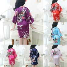 New Kid Silk floral Robe Kimono Robes Bridesmaid Flower Girl Dress Children Bathrobe Sleepwear Baby Clothes Dressing Gown(China)