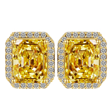 Big Square yellow Crystal Stud Earrings for Women Korean Fashion Jewelry Gold CZ Earings Free Shipping wedding favors and gifts