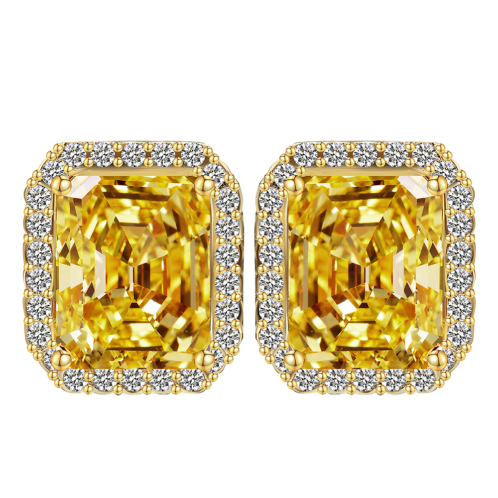 Big Square yellow Crystal Stud Earrings for Women Korean Fashion Jewelry Gold CZ Earings drop shipping wedding favors and gifts