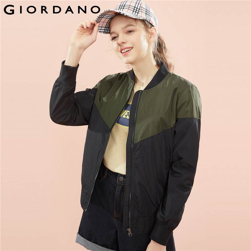 Giordano Women Bomber Jacket Women 100 Polyester Baseball Collar Contrast color Design Bomber Jacket Women Multi