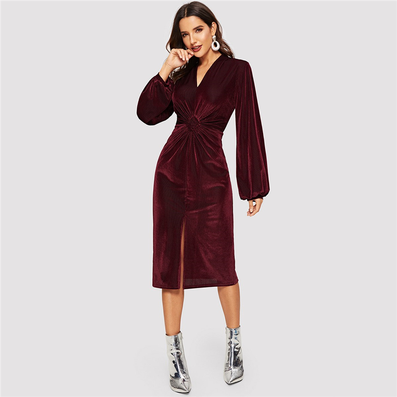 Burgundy Long Sleeve Velvet V-neck Dress