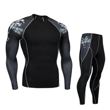 Men's elastic compression and quick-drying sportswear suit gym shirt leggings 2 piece tracksuit men MMA UFC clothing 4XL 3XL 2XL футболка мужская affliction 331254899788 ufc mma