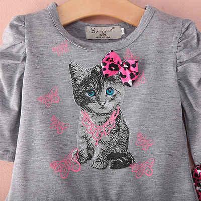 956ae350948 ... 2015 комплект одежды для маленьких девочек платье-футболка с половинным  рукавом и изображением милого котенка