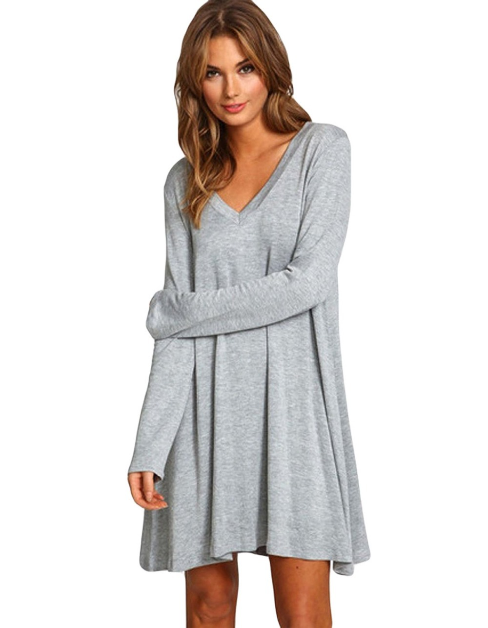 Womens long t shirt dress with brilliant image in india Women s long sleeve shirt dress