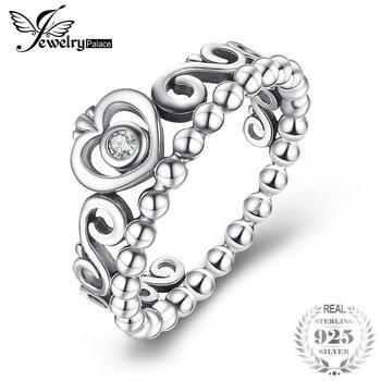 3a979afda83f JewelryPalace Vintage 925 anillo de plata esterlina princesa corona de  compromiso Zirconia cúbico anillos para mujer Regalos de aniversario