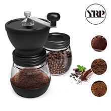 YRP molinillo de café de cerámica Manual con tarro de almacenamiento de vidrio reforzado, molino de café duradero, herramientas de cocina