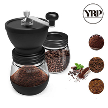 Yrp マニュアルセラミックバリコーヒー豆グラインダー要塞ガラス保存瓶で耐久性のあるカフェ豆ミルコーヒーメーカーキッチンツール