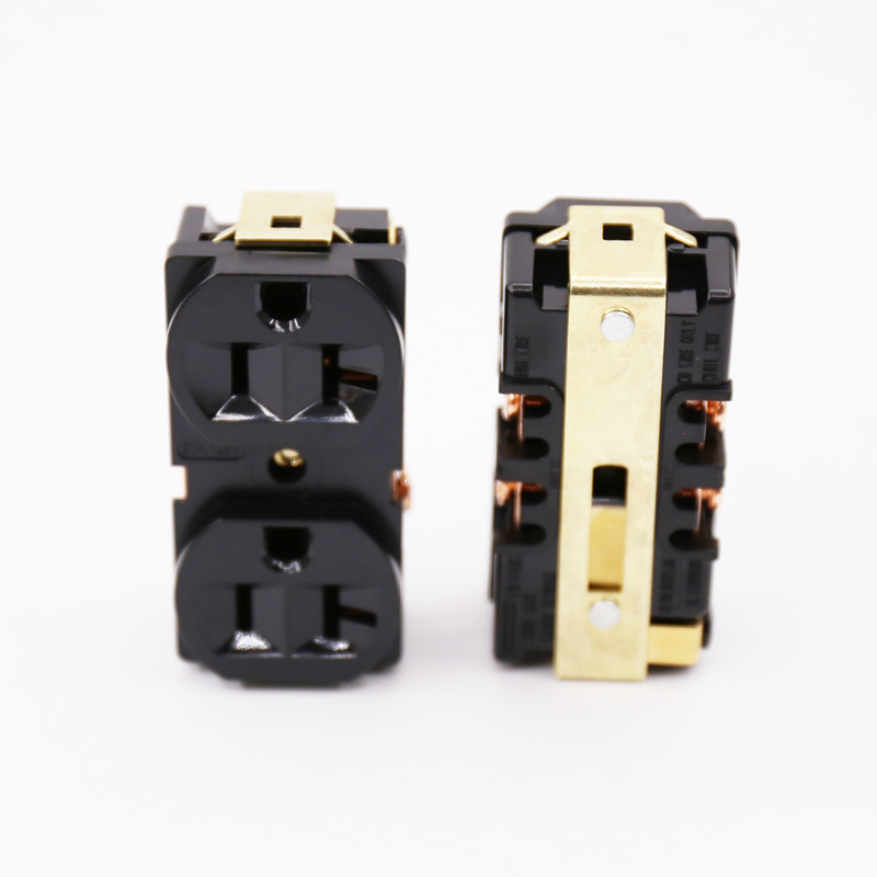 Factory wholesale  2pcs  Copper Plated HIFI AC Power Bar trip US Socket Receptacle wall outlet hifi x 2pcs gold plated hifi ac power bar trip us socket receptacle wall outlet