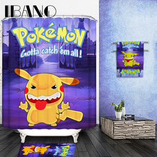 купить Pokemon Pattern Customized Shower Curtain Waterproof Bathroom Fabric 150x180cm/165x180cm/180x180cm Shower Curtain For Bathroom онлайн