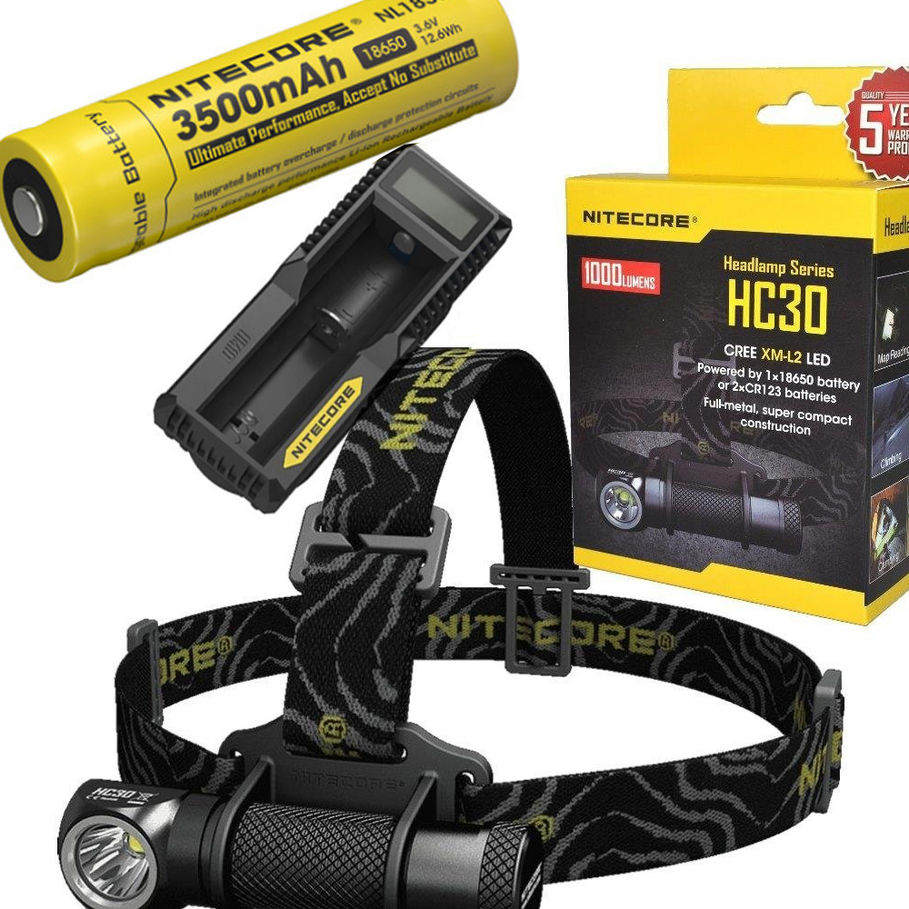 NITECORE HC30 HC30W Headlamp CREE XM-L2 U2 1000LM Waterproof Flashlight Torch with 18650 3500mAh Rechargeable Battery + charger nitecore p20 flashlight cree xm l2 u2 led max 800lm led torch for outdoor sports 3500mah 18650 battery and um10 charger
