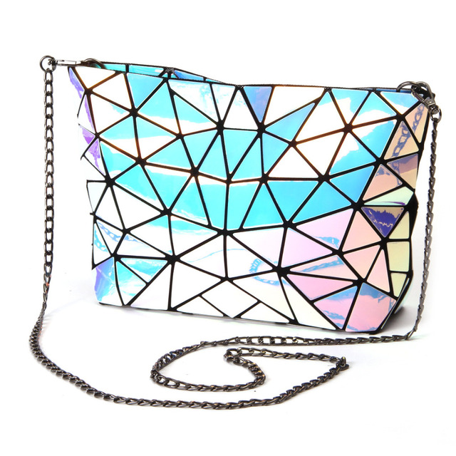 Fold Women-bag Geometric Plaid Bag Casual Tote Chain Shoulder bag female  Composite style hologram laser silver bag 2cf5114534463