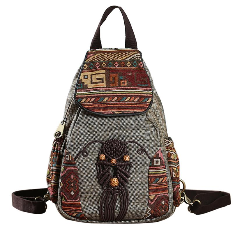 Women Backpack Female Vintage Handmade Backpacks For Girls Mini Backpack National Style Geometrical Printed Canvas Bagpack