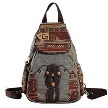 Mochila Vintage hecha a mano para mujer, Mini mochila de lona con estampado geométrico de estilo nacional, 2019