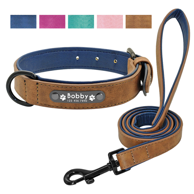 Personalized Leather Dog Collar Leash Set Customized 2 Layer For Small Medium Large Pitbull