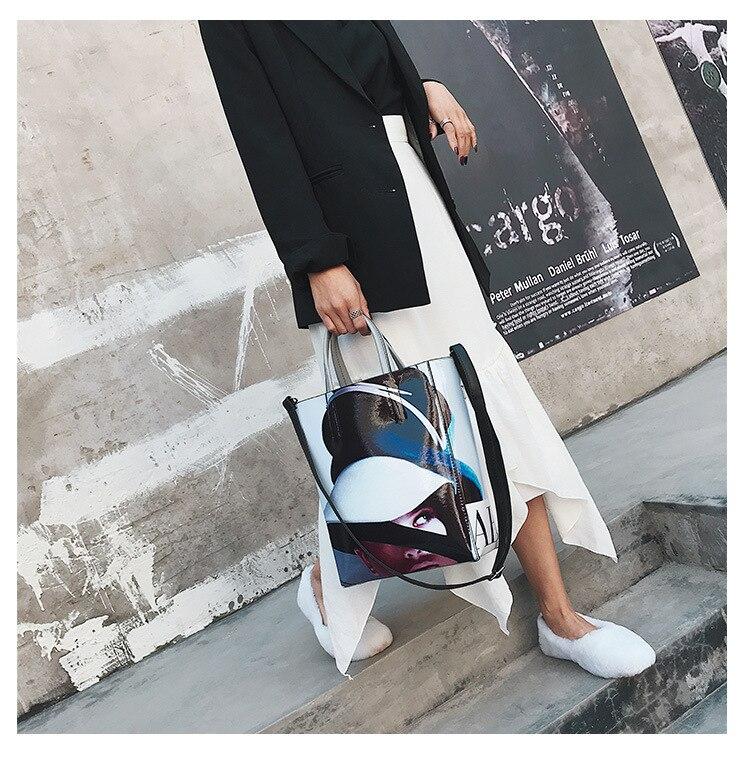 New Women Shopping Tote Fashion Character Magazine Print Crossbody Personality Handbag Female Large Capacity Shoulder Bucket Bag