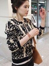 2014 новый осень зима женщины вязать свитер широкий вязать блейзер черный фарфор синий кардиган трикотажные свитера печать