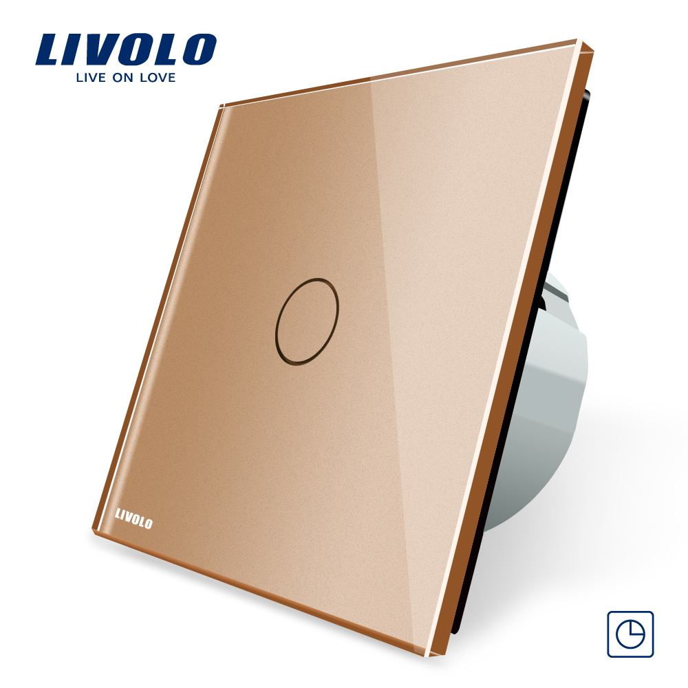 Free Shipping, Livolo EU Standard Timer Switch,VL-C701T-13(30s delay), Golden Crystal Glass Panel, LED Indicator Wall Switch livolo eu standard touch timer switch ac 220 250v vl c701t 32 black crystal glass panel wall light 30s time delay switch