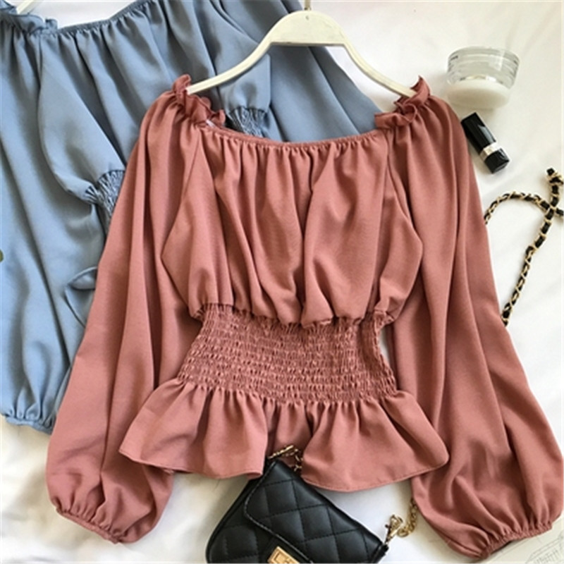 2019 summer new lantern sleeve chiffon women blouse and shirts solid slim sexy slash neck ruffles lady shirts outwear tops Z1698 6