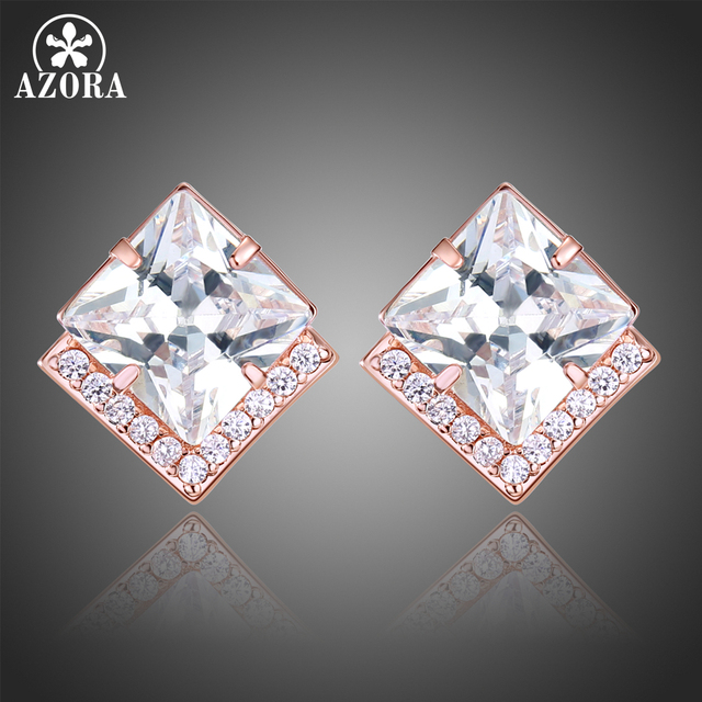 cc4c6860f AZORA V Letter Rose Gold Color Princess Square Cut Clear Cubic Zirconia  Stud Earrings Female Clear Rhinestone Jewelry TE0316