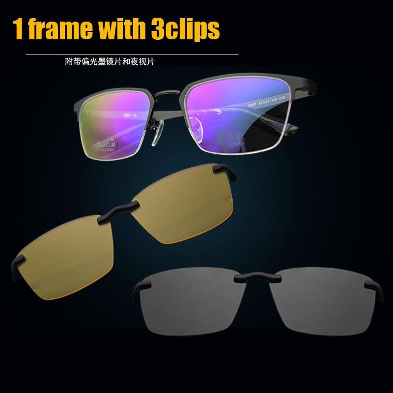 Demi-Trame cadre de lunettes en titane cadre de verre Polarisées 3 d Lunettes lunettes de myopie Hommes lunettes de Soleil de Vision Nocturne Clip Pur Titane Magne