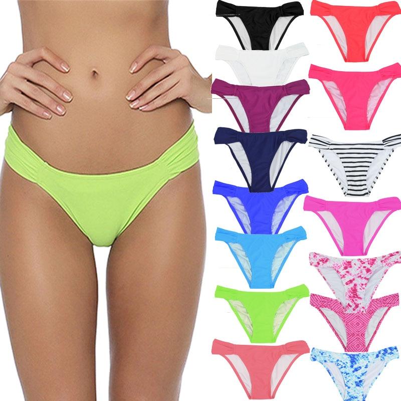 2019 New Arrival Solid Colors Sexy Women Swimwear Briefs Shirred Side Mid Waist Shorts Triangle Swim Trunks Female Bikini Bottom
