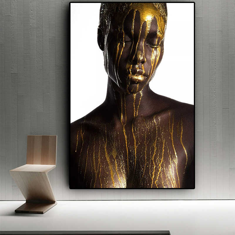 Nude African Black and Gold  Woman Oil Painting on Canvas Cuadros Posters and Prints Scandinan Wall Art Picture for living room