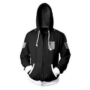 Image 5 - Anime Attack On Titan hoodie Jacket Shingeki no Kyojin Legion Eren Cosplay Costume Sweatshirts Zipper Hoodies