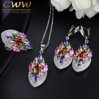 CWWZircons Artistic Vintage Cubic Zircon Jewelry Colorful CZ Crystal 925 Silver Ring Pendant Necklace Earring Set