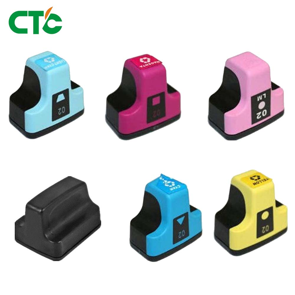 6pk Full Ink HP02 for PhotoSmart C6180 C6280 C8250 3110 3210 C5100 C5140 C5150 Printer