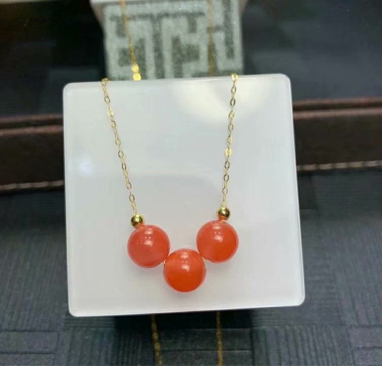 shilovem 18K yellow Gold real Natural south Red agate pendants no necklace fine plant Jewelry classic gift plant mym9 9.5
